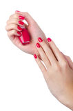 Nail Polish In Woman Hand Royalty Free Stock Photos