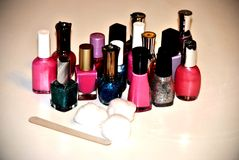 Nail polish. Lighted group of nail polish ready for home manicure Stock Photo