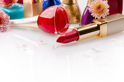 Nail polish and lipstick Royalty Free Stock Images