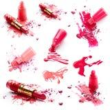 Nail polish, lipstick and eye shadow Royalty Free Stock Images