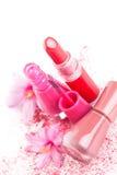 Nail polish and Lipstick. Royalty Free Stock Images