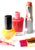 Nail polish and lipstick  on white Stock Images
