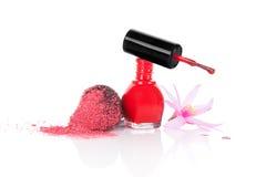 Nail polish and make up brush. Royalty Free Stock Photos