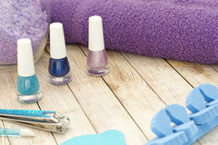 Nail polish. Multi-colored nail polish on the table Royalty Free Stock Image