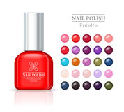Nail Polish Pallet. Women Accessories Nail Collection Stock Image