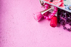 Nail polish on a pink background Royalty Free Stock Images