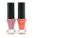 Nail polish. 2 nail polishes with opened Royalty Free Stock Image