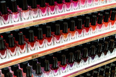 Nail Polish Products For Sale In Beauty Shop Stock Photography