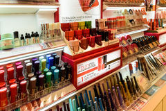 Nail Polish Products For Sale In Beauty Shop Stock Photos