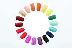 Nail polish rainbow. On white background royalty free stock photos