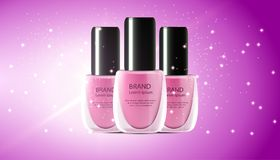 Nail polish realistic 3d makeup cosmetic illustration. Manicure and pedicure mockup color ad product. Background spash paint beaut. Y.Fashion pink lacquer bottle stock illustration