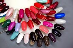 Nail polish samples set. A collection of nail polish testers in various colors Stock Image