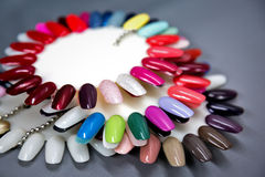 Nail polish samples set. Shallow DOF Stock Photo