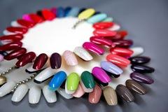 Nail polish samples set. Shallow DOF. A collection of nail polish testers in various colors Stock Photo