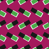 Nail polish seamless pattern 4. Green nail polishes or nail lacquers on a dark crimson background Stock Photography