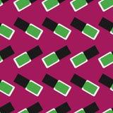 Nail polish seamless pattern 4. Green nail polishes or nail lacquers on a dark crimson background royalty free illustration