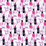 Nail polish seamless pattern. Watercolor girly texture. Textile or wrapping design Stock Image