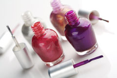 Nail polish. Selection of different colour nail polish Royalty Free Stock Images