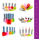 Nail polish set. Set of different nail polish images over white background Stock Photo