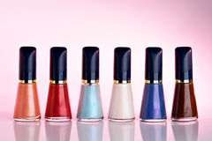 Nail polish set. In a row Royalty Free Stock Photography