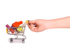 Nail polish on the shopping cart Royalty Free Stock Photography