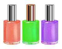 Nail polish with silver cap. Vector set. Royalty Free Stock Photo