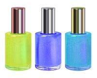 Nail polish with silver cap. Vector set. Stock Photo