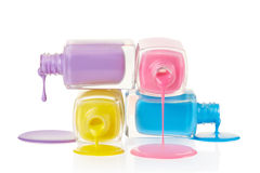Nail polish spilled. On white background, clipping path included Royalty Free Stock Photo