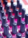 Nail polish varnish bottles makeup store Royalty Free Stock Photos