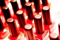 Nail polish varnish bottles makeup store Stock Images