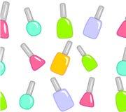 Nail polish on white. Seamless texture made of many nice colorful nail polish bottles on white background Stock Illustration