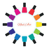 Nail polish women accessories set in a palette. Bright stylish modern colors. Glamour cosmetics. Manicure and pedicure products. Cool bottles in rainbow colors Stock Photos