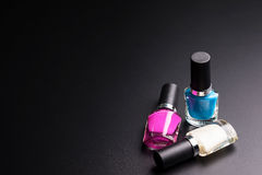 Nail polisher  on black background, Cosmetics concept, M. Akeup concept, Copy space image for your text Royalty Free Stock Photography