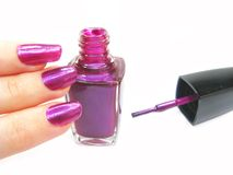 Nail polisher doing manicure on hand Royalty Free Stock Photo