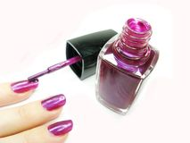 Nail Polisher Making Manicure Stock Photo
