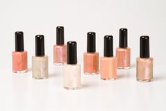 Nail polishes. Group of different-colored nail polishes Royalty Free Stock Images