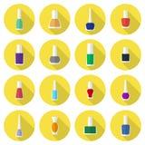 Nail polishes flat icon set Royalty Free Stock Photography