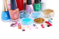 Nail polishes and glitters royalty free stock photos