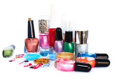 Nail polishes and glitters Stock Image