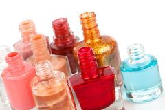 Nail polishes. Group of bright nail polishes on white Royalty Free Stock Photo
