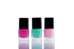 Nail Polishes. Group of Bright Nail Polishes  on a White Background Royalty Free Stock Photo