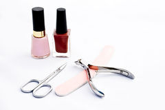 Nail polishes and manicure set Royalty Free Stock Images