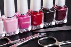 Nail polishes and manicure set Stock Image