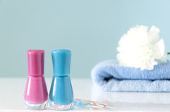 Nail polishes with manicure tools Stock Image