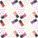 Nail polishes seamless pattern 2. Digital drawing of nail lacquers with dotted background Stock Photography