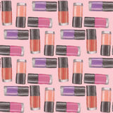 Nail polishes seamless pattern 5. Digital drawing of nail lacquers with pink background Stock Photos