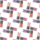 Nail polishes seamless pattern 6. Digital drawing of nail lacquers.  on white background Stock Photo