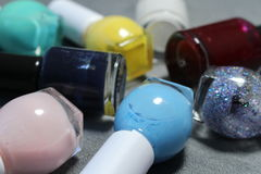 Nail polishes. These are small bottles nail polishes Stock Photos