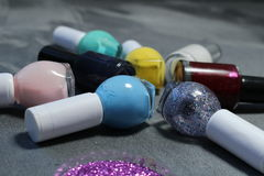 Nail polishes. These are small bottles nail polishes Royalty Free Stock Image