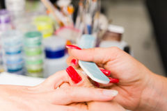 Nail polishing Stock Photos